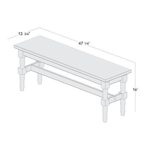 Manhattan Comfort Jay Collection Traditional Wooden Dining Table Bench with Trim Finish, Red/Wood by Manhattan Comfort (Image #4)