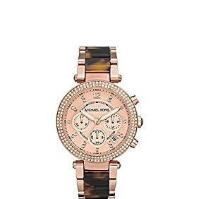 New Michael Kors Chrono Tortoise Rose Gold Tone Bracelet Ladies Watch MK5538