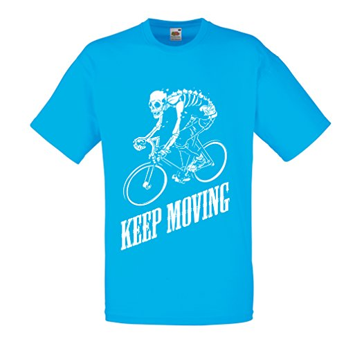 T shirts for men Motivational Quotes - The life is like riding a bicycle. To keep your balance, you must keep moving. (Large Light Blue Multi (Voler Shorts)