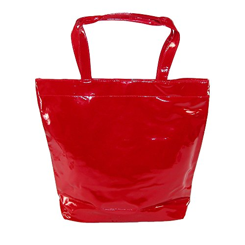 CTM Women's Patent Tote Bag, Red