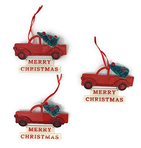 Red Bottle Brush Tree - Clever Home Merry Christmas Red Truck Ornament Sign Decorated Bottle Brush Tree - Set of 3