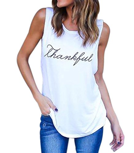 Sumtory Women Sleeveless T Shirt Solid Color Letter Printed Camisole Tank Top