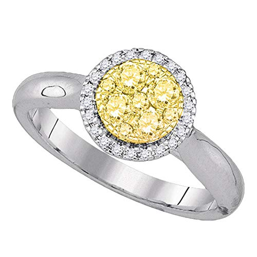 Dazzlingrock Collection 14kt White Gold Womens Round Canary Yellow Diamond Circle Cluster Ring 1/2 Cttw