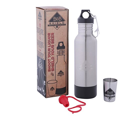 Brew & Beer Shield: Stainless Steel bottle keeper/koozie: Insulate, Protect&Conceal glass bottles.Ideal beer lover gift. Perfect for Pool/Spa, Beach/Tailgating Keep your beer colder longer!