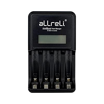 aLLreLi 4 Bay Intelligent Fast Charging Battery Charger w/ LCD Indication, Battery Activation & Discharge Function for AA / AAA / Ni-MH / Ni-Cd Rechargeable Batteries
