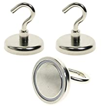 """BIGTEDDY - 2 x 1.6"""" 42mm Large Powerful N52 Neodymium Magnets Magnetic Hanging Hooks for Indoor / Outdoor Use"""