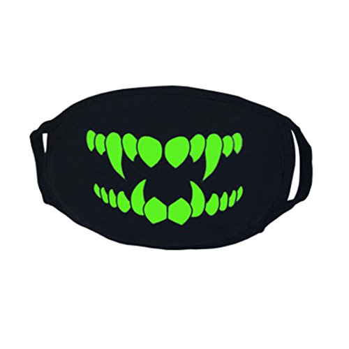 Weather Related Halloween Costumes (26 Styles Halloween Party Black Comfortable Cold-weather Mask, Robiear Luminous Ghost Teeth Skull Mouth Half Face Scary Horror Mask (W))