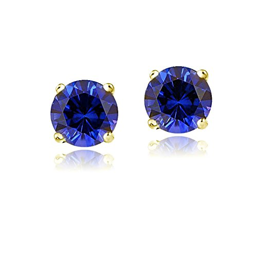 Bria Lou 14k Yellow Gold Round-Cut Created Blue Sapphire 6mm Solitaire Gemstone Stud Earrings (2.1ct TGW) 14k Yellow Gold Violet