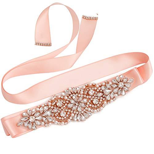 (Yanstar Rose Gold Crystal Beads Rhinestone Wedding Bridal Belt Sash With Blush Ribbon For Wedding Dress)