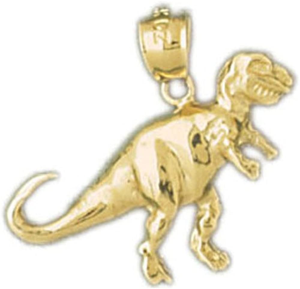 New 14k Yellow Gold T-Rex Dinosaur Pendant