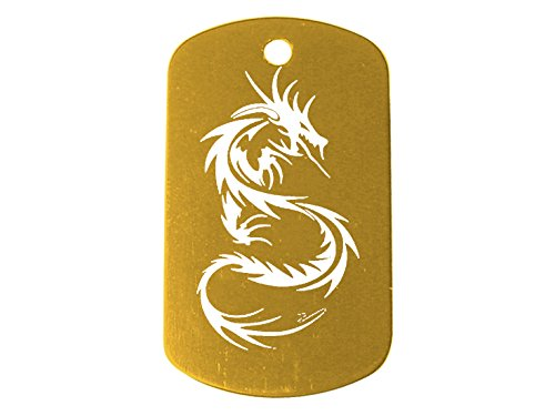 Light Gold Dog Tag Kit With 24'' Chain & Silencer Tribal Dragon - 958 Gold