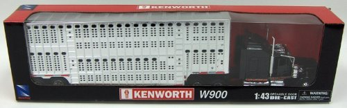 New Ray 1/43 D/C Kenworth W900 Pot Belly Livestock (Livestock Trailer)