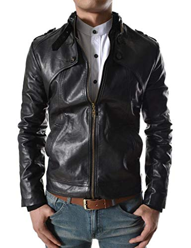 King Leathers Men's Real Lambskin Genuine Leather Jacket Biker Motorcycle Stylish Urban Leather Jacket MJ1059 Black