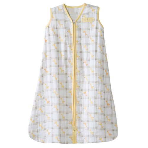 HALO 100% Cotton Muslin Sleepsack Wearable Blanket, Giraffe Plaid, Small