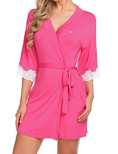 Breve xxl Delle Ekouaer Rosa Veste s Kimono Vestaglia Donne Viscosa Da Notte Rossa 65vqv1