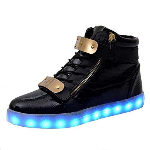 Lieve-koningin Led Schoenen Hoge Top Mannen Vrouwen Oplichten Schoenen Usb Opladen Metalen Velcro Knipperende Sneakers Zwart