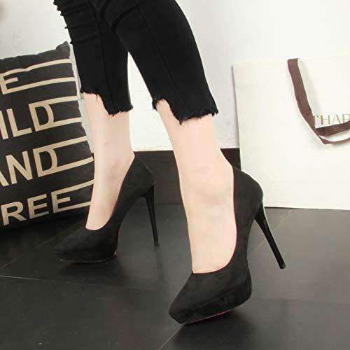Yukun Schuhe mit hohen Absätzen Herbst Stiletto Spitz Flacher Mund High Heel 12Cm Damenschuhe Professional schwarz Office Damenschuhe
