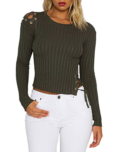 Femmes Rond Shirts t Pulls Fashion Court Verte Serr Crop Tricot Chemisiers Bandage Couleur Col Manches Casual T Unie Arme Longues New Tops Haut RqqI5