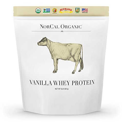 - Norcal Organic Grass Fed Whey Protein Powder, Vanilla, 2lbs | 21g Protein, 4.9g BCAA, 100 Calories per Serving | Pasture Raised, Non-Denatured, Non GMO, Soy Free, Gluten Free, Source Organic