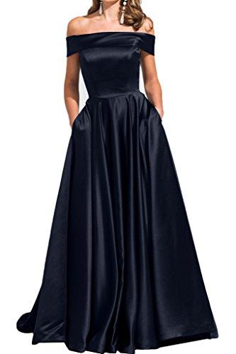 della Modern Damen U partito ivyd abito Satin sera Prom linea a del Fest abito da lungo abito Scollo a Dunkelblau ressing vestito gFwwxS8