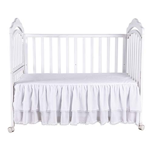 - White Ruffle Crib Skirt with Lace Trim Nursery Crib Bed Skirt for Baby Boys and Girls 52 by 28 by 15 Inches