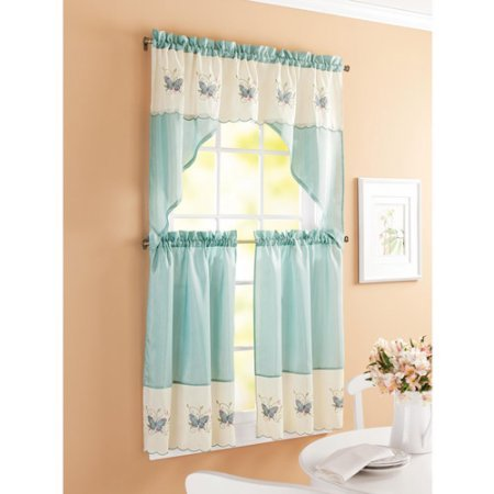 Better Homes And Garden Butterfly Window Kitchen Curtains Embroidered Aqua Set Of 2