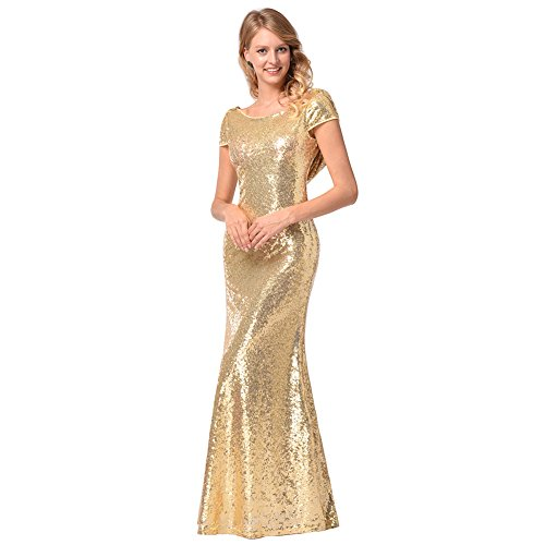 TBNA Bridal Gold Sequins Bridesmaid Dress Mermaid Long Prom Evening Dress (L, Gold-Boat ()