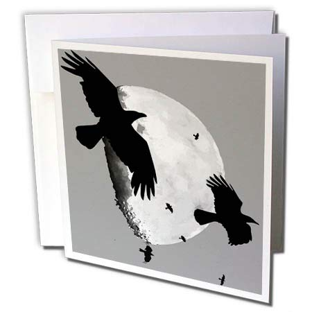 3dRose Taiche - Vector - Halloween Crows - A Murder of Crows Flying Across The Moon - 1 Greeting Card with Envelope -