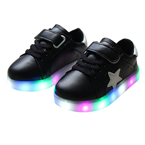 Highdas Jungen Mädchen Prewalker Blitz-Beleuchtung Schuhe Schwarz