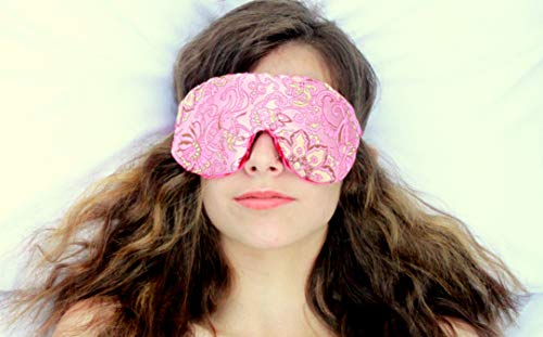 (Weighted Sleep Eye Mask Pillow Handmade by Candi Andi - Adjustable Strap - Travel - Flax Seed Filled - Lavender Scented or Unscented - Satin Brocade and Crushed Velvet - Pinkalicious - TEMLF-PI)
