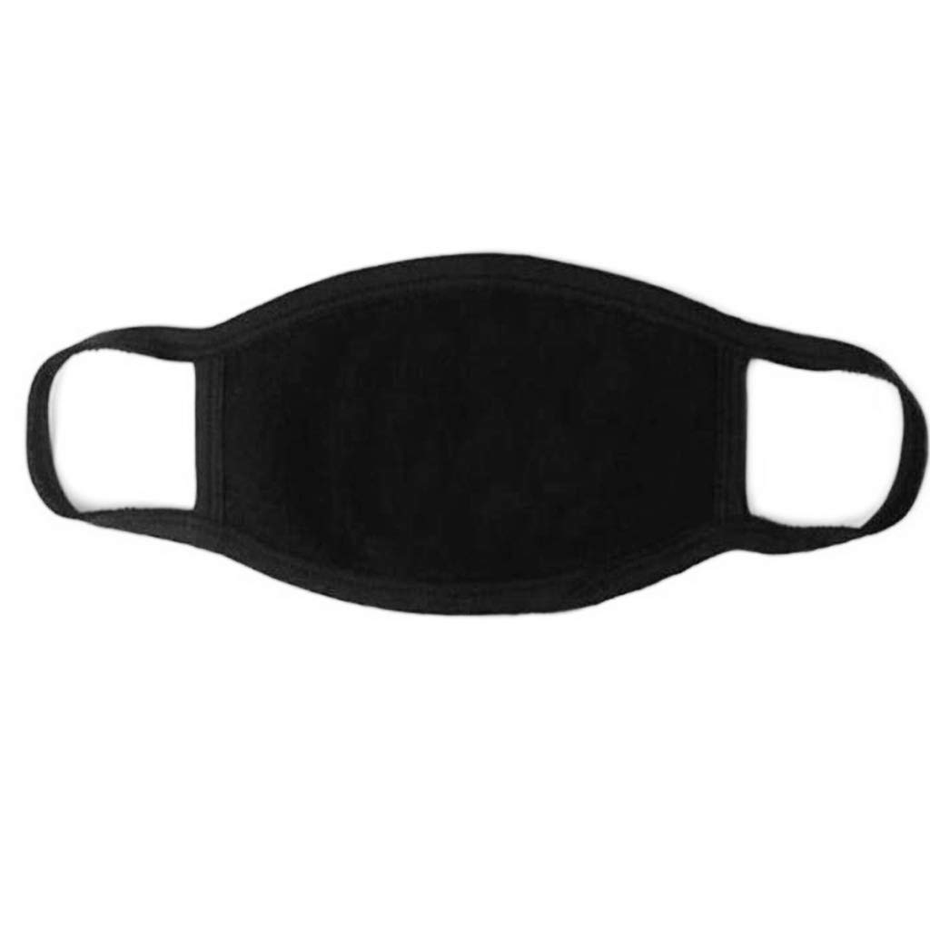 Chajb Unisex Black Mouth Mask Washable Cotton Anti Dust Protective Reusable 3 Layers