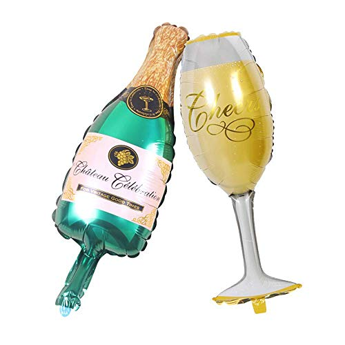 Aluminum Film Champagne Bottle and Goblet Hydrogen Balloons for Party Decoration (Green Beer)