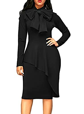 AlvaQ Women's Peplum Waist Tie Neck Long Sleeve Bodycon Midi Dress (S-2XL)