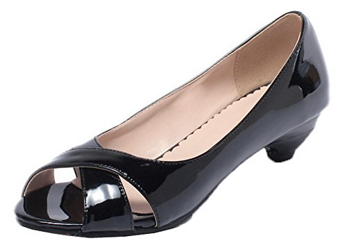 WeenFashion Women's Patent Leather Peep-Toe Low-Heels Solid Sandals, CA18LA03573, Black, 38