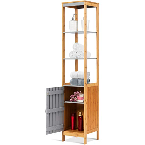 Tangkula Bathroom Floor Cabinet, Bamboo 5-Tier Concise Storage Organizer Unit Free Standing Single Door and Adjustable Shelf Living Room Bedroom, Gray and Natural (12″x12″x62.5″)