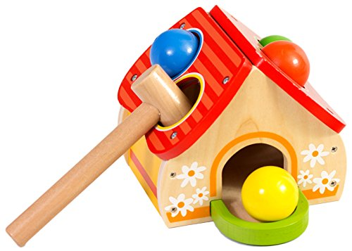 Wooden Pounding House Toy, Safe & Easy For Young Boys and Girls, Includes Wooden Hammer