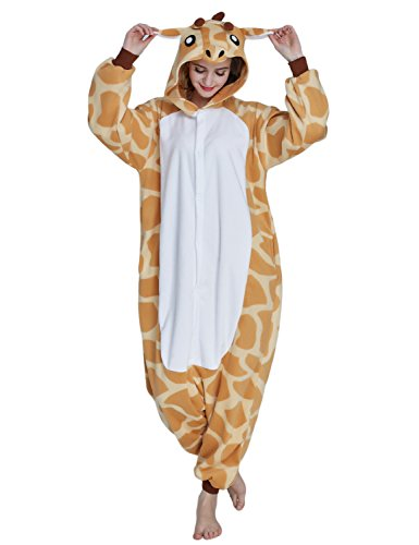 KING FUN Unisex Adult Anime Cosplay Giraffe Onesies Pajamas Costumes Sleepwear Small (Gay Couples Costume)