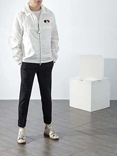 Wiberlux Moncler Fayence Men's Triple Logo Patch Detail Hooded Windbreaker 3 White: Amazon.ca: Clothing & Accessories