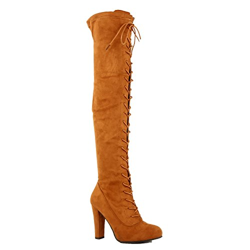 Guilty Schuhe Damen Sexy Pull Up Stiletto Slouchy High Heel - Overknee Oberschenkel Hohe Stiefel Tanv1 Wildleder