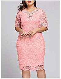 1e6347a6c0e Plus Size XL-5XL Women Lace V Neck Half Sleeve Cocktail Evening Party Midi  Dress