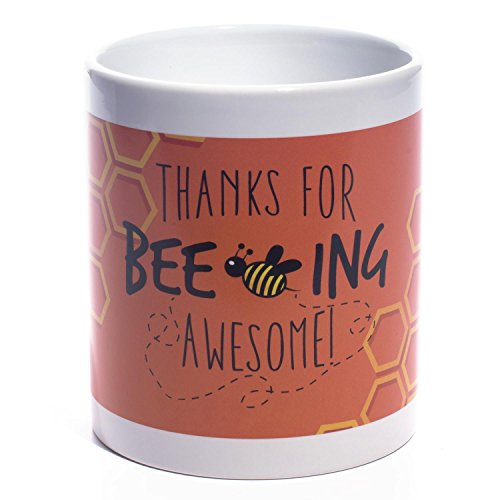 Teacher Appreciation Classic White Ceramic Thanks for Beeing Awesome Coffee Mug, 11 Ounce -