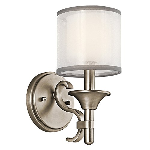 (Kichler 45281AP Lacey Wall Sconce, 1 Light Incandescent 60 Watts, Antique Pewter)