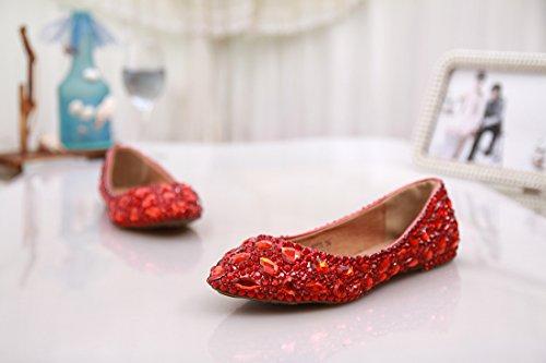 wedding Evening confortevole Prom Handmade Red satin party ballerine nbsp;donna Minitoo Rhinestone moda MZLL030 qHFqYO