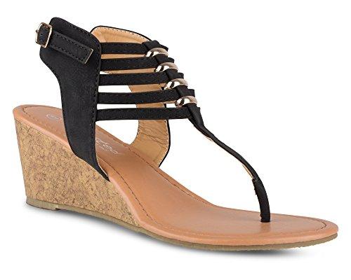 Twisted Women's Riley Metal Ring Low Wegde Sandal with Strappy Ankle Wrap - BLACK, Size (Strappy Ankle Wrap Platform Sandal)