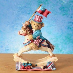 Crystal Rocking Horse Figurine - Enesco Cherished Teddies; 109636 Samuel Hooray for the USA Rocking Horse 4th of July Figurine