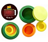 onion tomato saver - SAVER REUSABLE SILICONE FOOD PROTECTORS, Fruit and Vegetable STORAGE Containers, Food Stretch Lids, Food Caps for Jars and Cans, Set of 4, BPA-Free, PERFECT GIFT for Kitchen