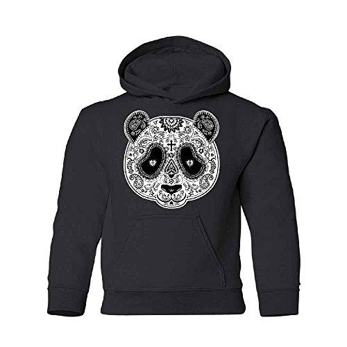 Halloween Day Of Dead Panda Tattoo Face Youth Hoodie Sweatshirt Black Youth Large ()