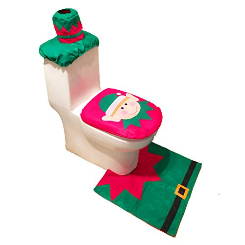 WONMILLE Christmas Santa Toilet Seat Cover, Rug Set, Tank Cover and Toilet Paper Box Cover Christmas Decoration Bathroom Decor Set of 3 (Elf) -