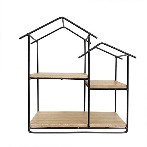 cheerfullus Small House Shaped Creative Iron Hexagon Wall Shelf Decorative Display Rack For Living Room,Bedroom,Cafe,Hotel,Restaurant - Black