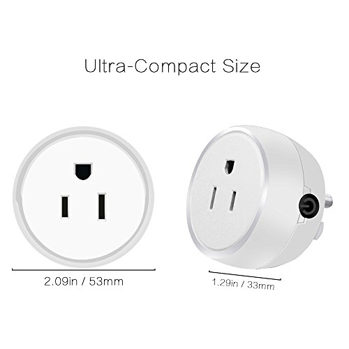 Guxen Mini Wifi Smart Plug Compatible with Alexa,Google Home Mini,No Hub Required, Remote Control by Cellphone App with Timing Function (White 2 Pack) by Guxen (Image #2)